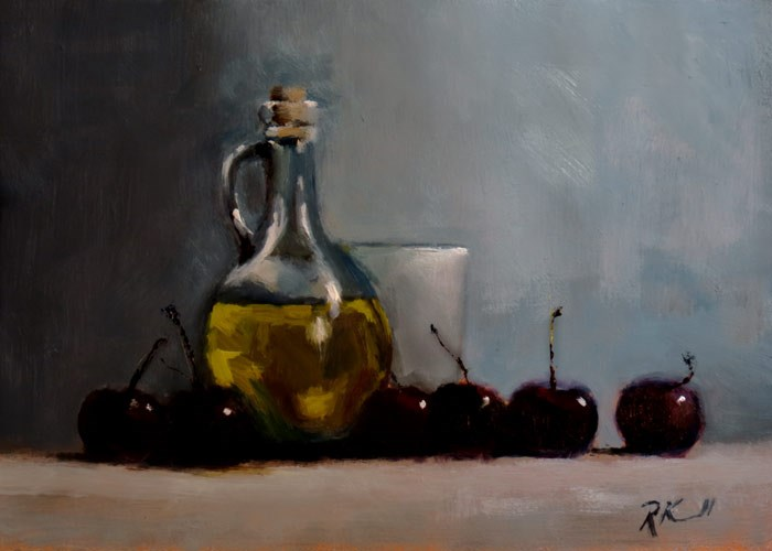 """Still Life with Cherries"" original fine art by Bob Kimball"