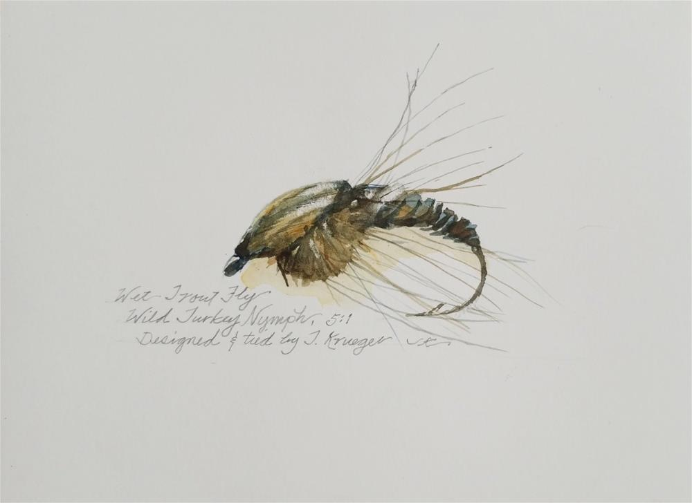 """""""Wet Trout Fly - Wild Turkey Nymph"""" original fine art by Jean Krueger"""