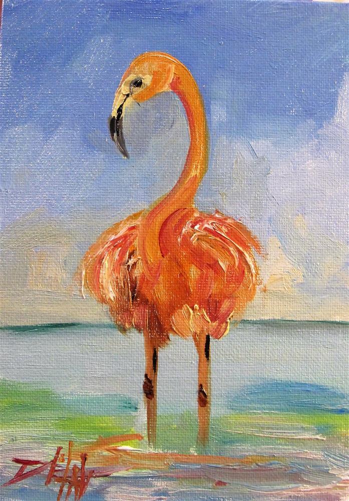 """Flamingo No.25"" original fine art by Delilah Smith"