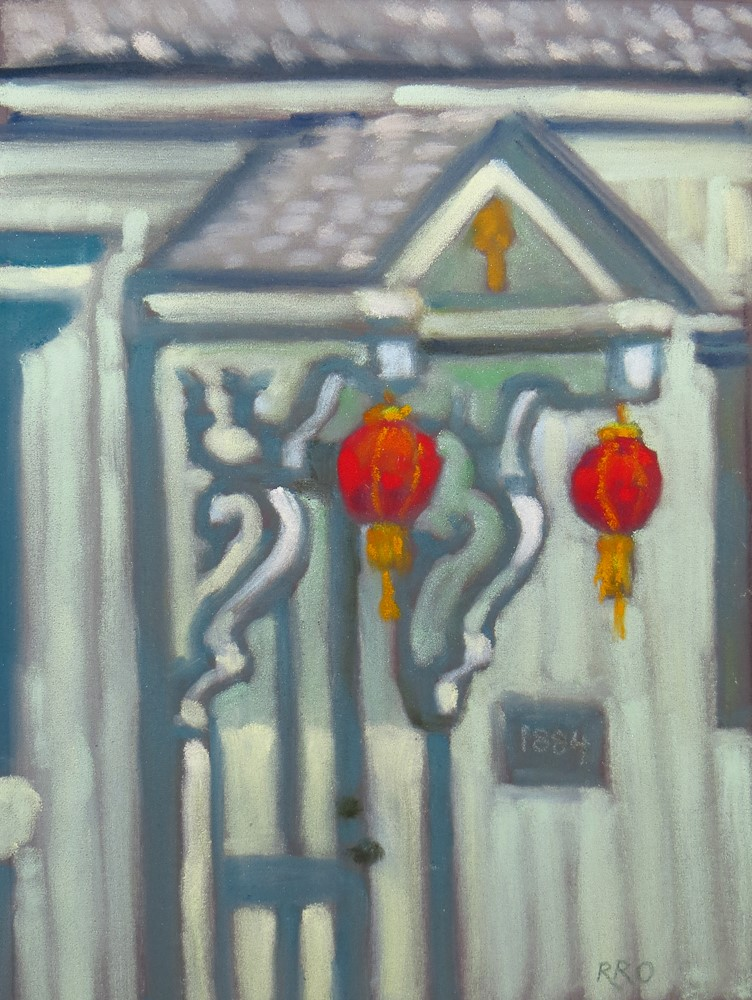 """Red Lanterns on a Porch"" original fine art by Rhett Regina Owings"