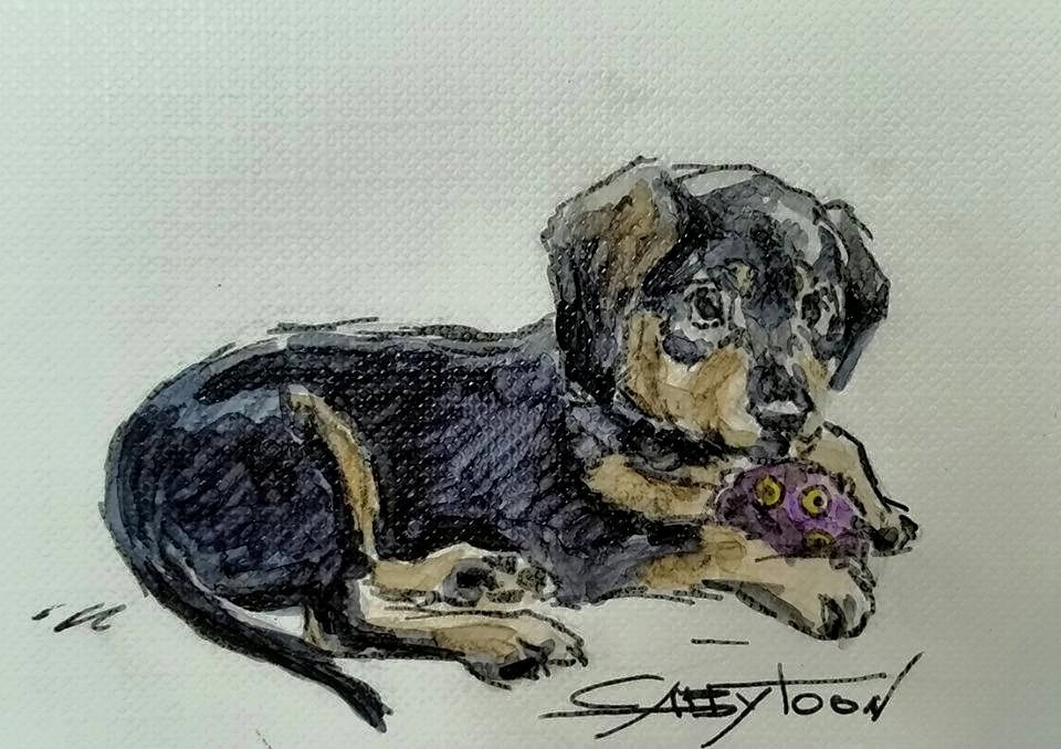 """Puppy(ACEO)"" original fine art by Gabriella DeLamater"