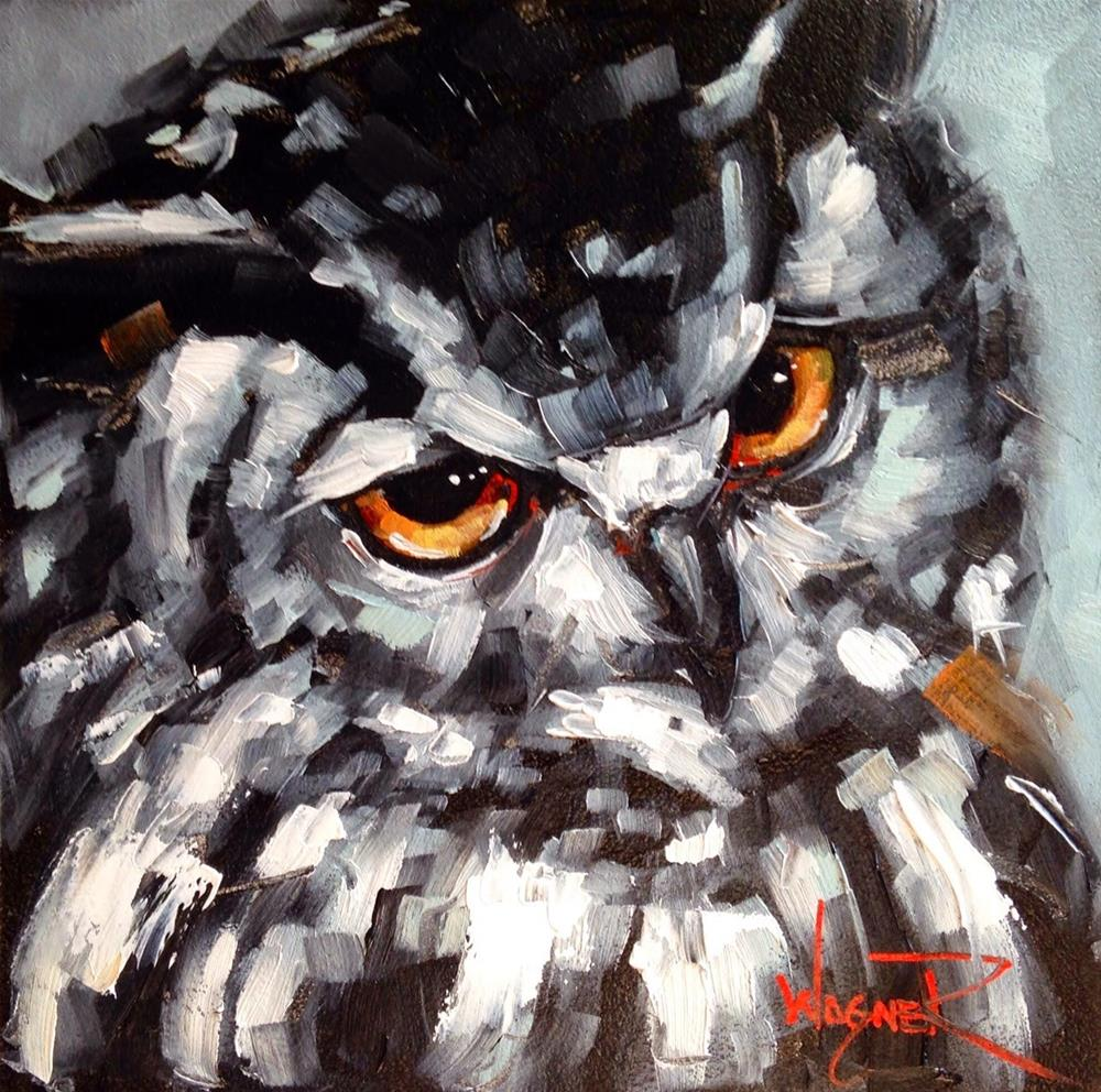 """""""CONTEMPORARY MONOCHROMATIC OWL PAINTING in OILS by OLGA WAGNER"""" original fine art by Olga Wagner"""