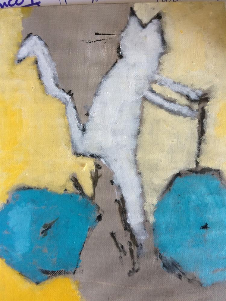 """The cat avoiding the piano teacher.."" original fine art by pamela kish"