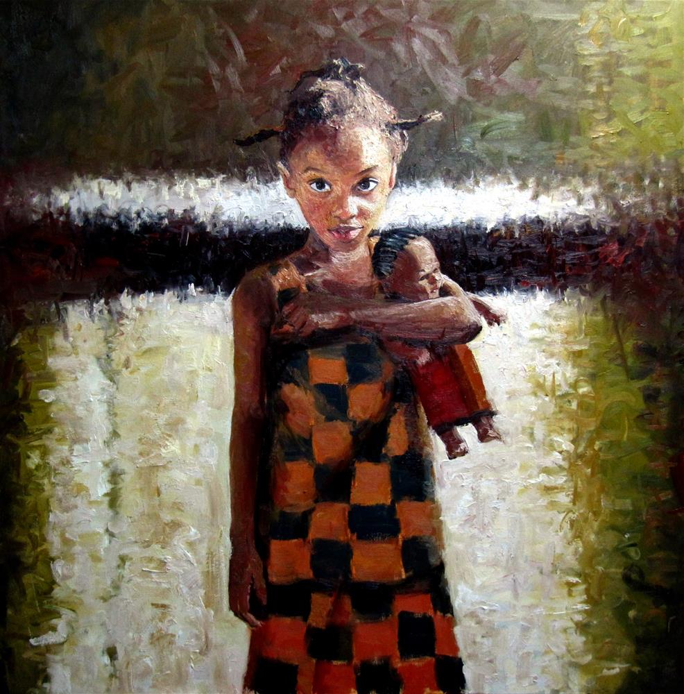 """The African Doll"" original fine art by Adebanji Alade"