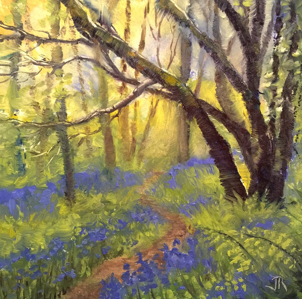 """Sentry Of The Bluebells"" original fine art by June Rollins"
