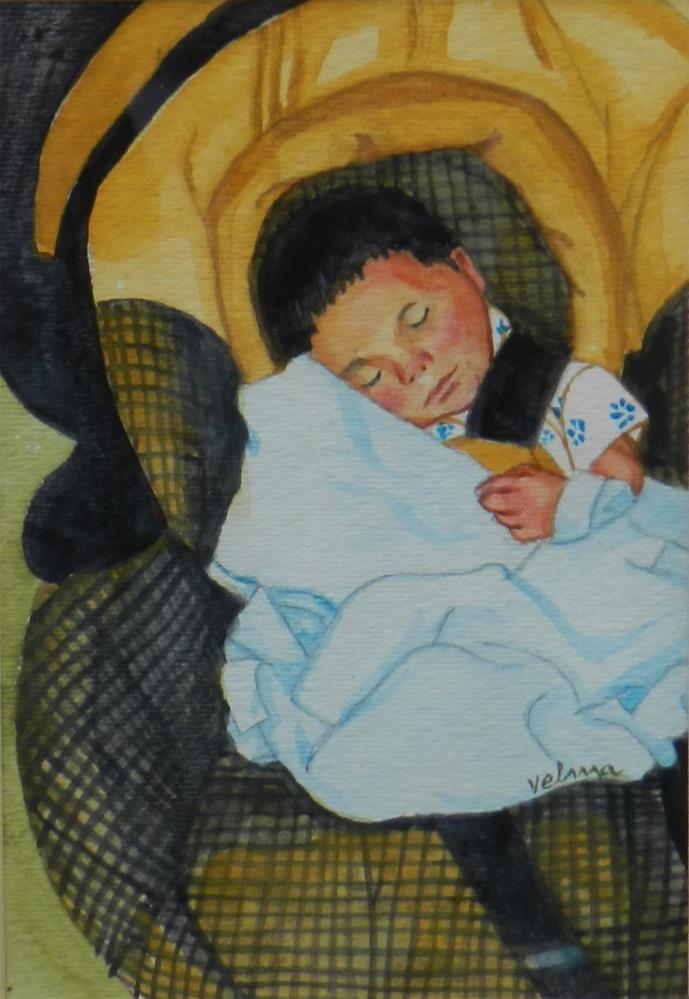"""Watercolor Portrait"" original fine art by Velma Davies"