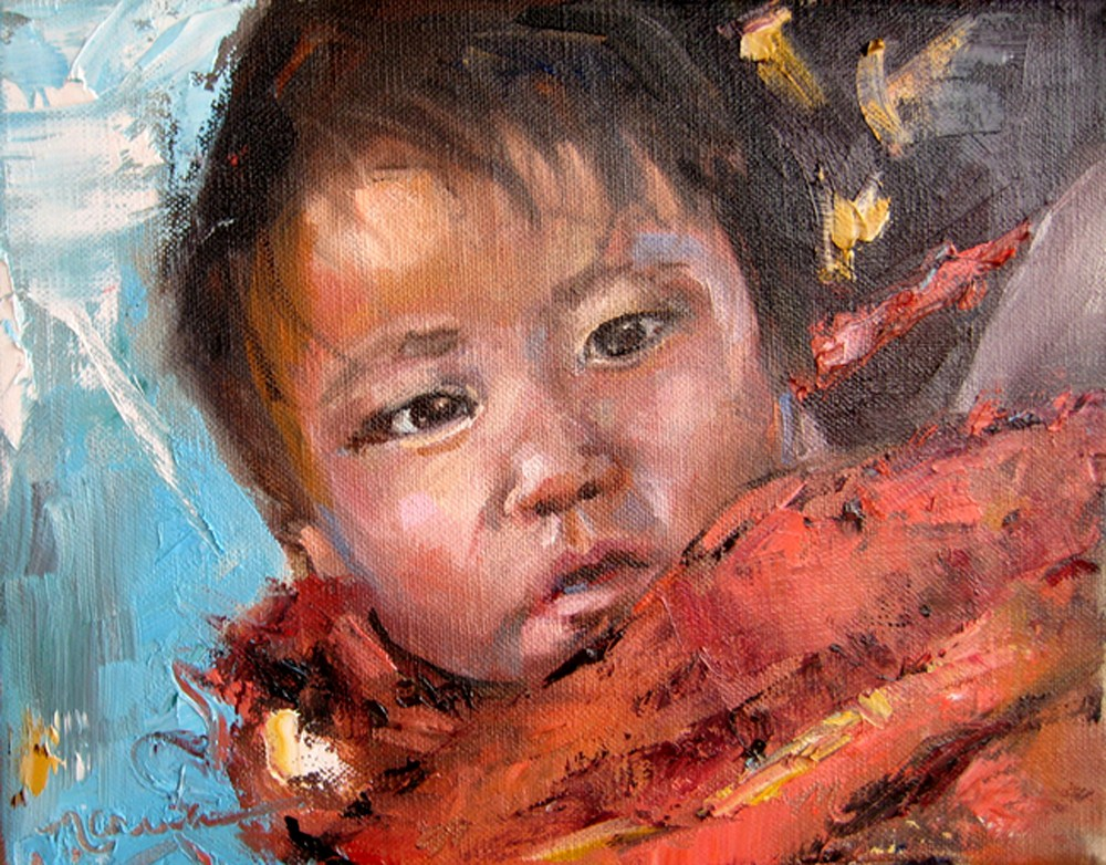"""Papoose Baby"" original fine art by Marcia Hodges"