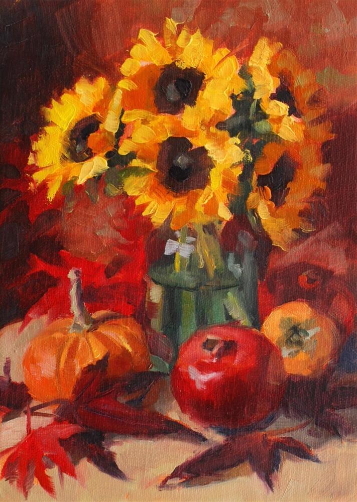 """No. 670 Sunflowers with Fall Fruit"" original fine art by Susan McManamen"