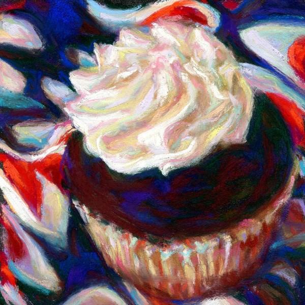 """BABY, BABY. . . . BOSTON CREME cupcake pastel by Susan Roden"" original fine art by Susan Roden"