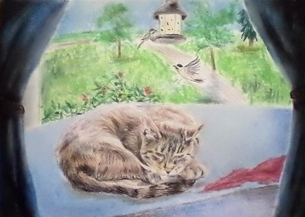 """Kitty in the window with birds his favorite spot"" original fine art by tara stephanos"