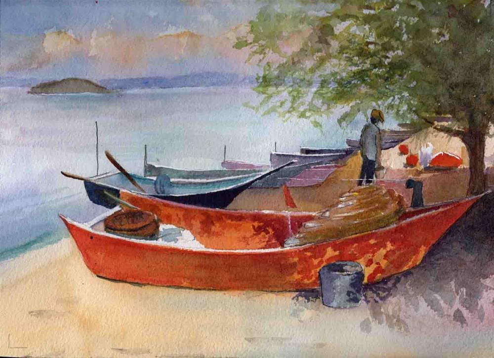 """Fishing Boats"" original fine art by Bunny Griffeth"