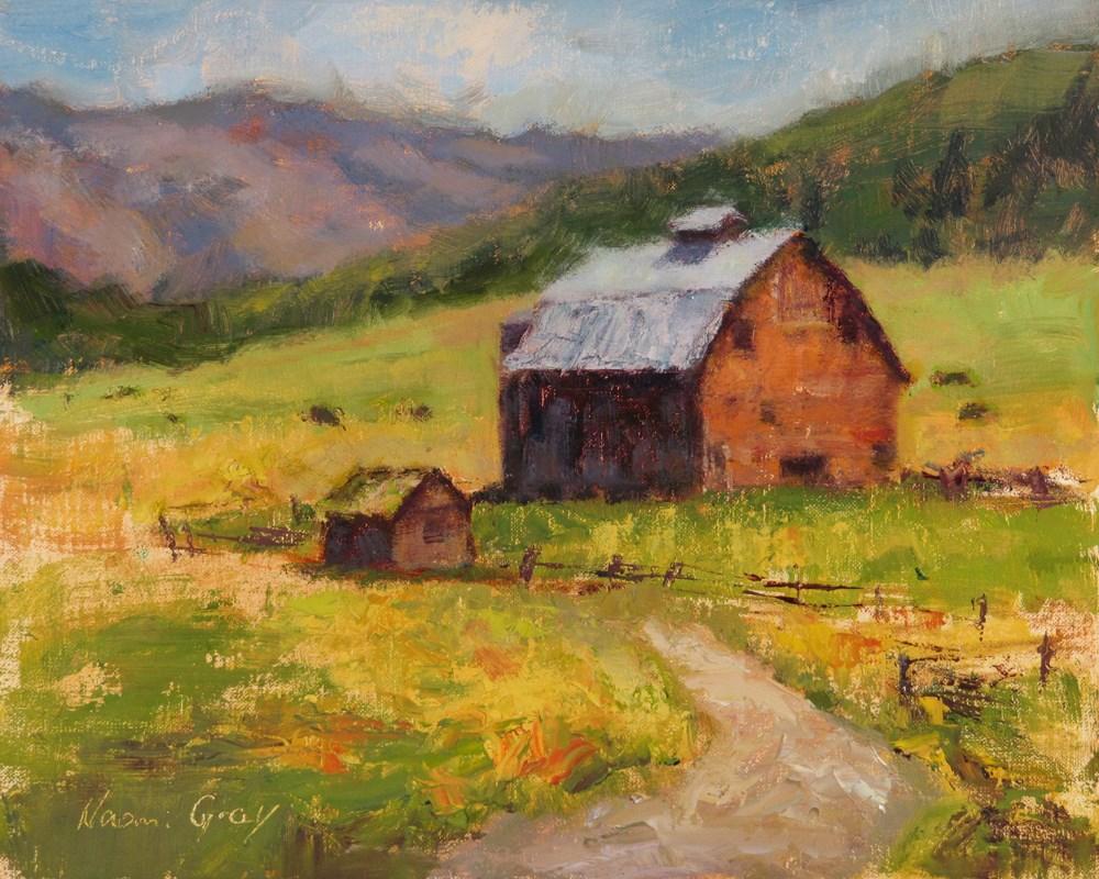 """""""Old Barn in Cattle Field"""" original fine art by Naomi Gray"""