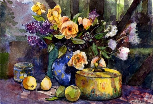 """""""Watercolor: Study for Yellow Roses"""" original fine art by Belinda Del Pesco"""