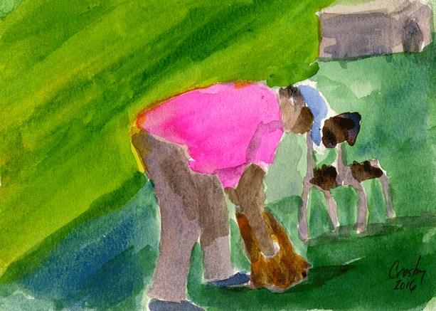 """""""Dog Wash"""" original fine art by Donna Crosby"""