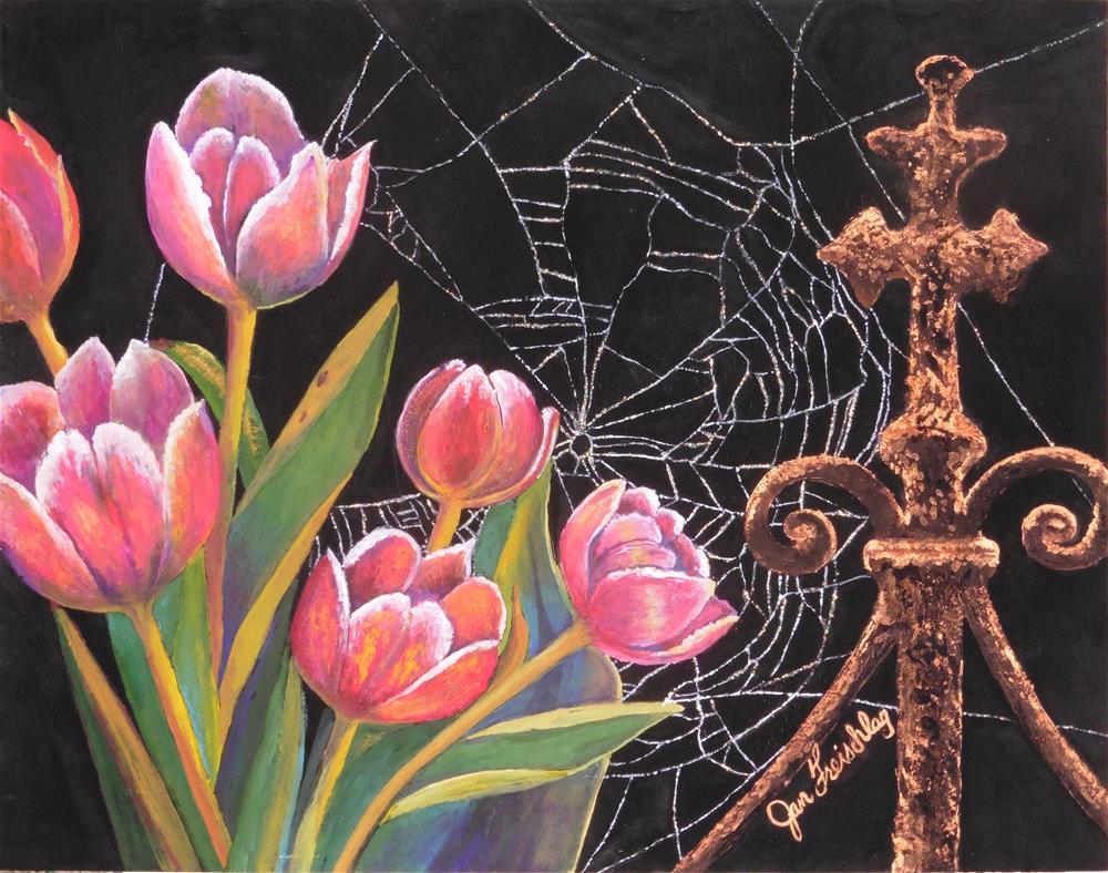 """Garden gate beauties"" original fine art by Janice Freischlag"