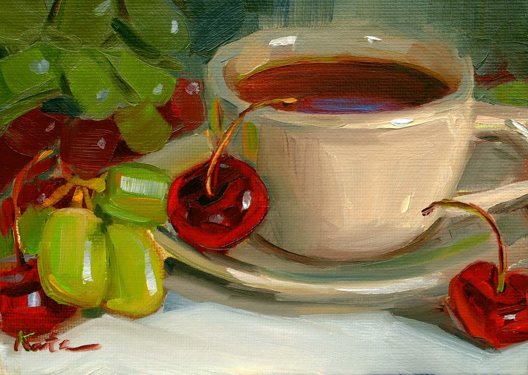"""""""Fruit Tea"""" original fine art by Elena Katsyura"""