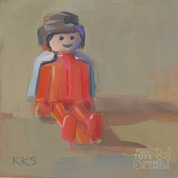 """""""Playmobil SuperGirl (or convict with cape, depending upon your point of view)"""" original fine art by Kimberly Santini"""