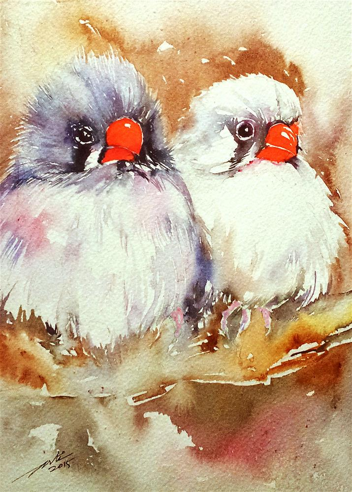 """""""Grey and White Finches"""" original fine art by Arti Chauhan"""