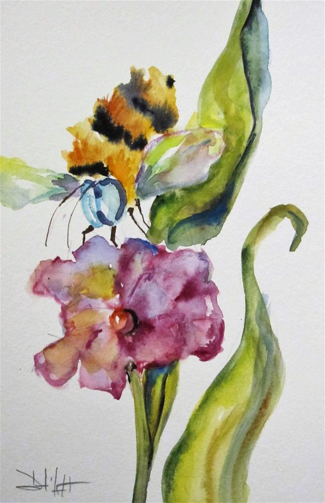 """Purple Flowers and Bee"" original fine art by Delilah Smith"