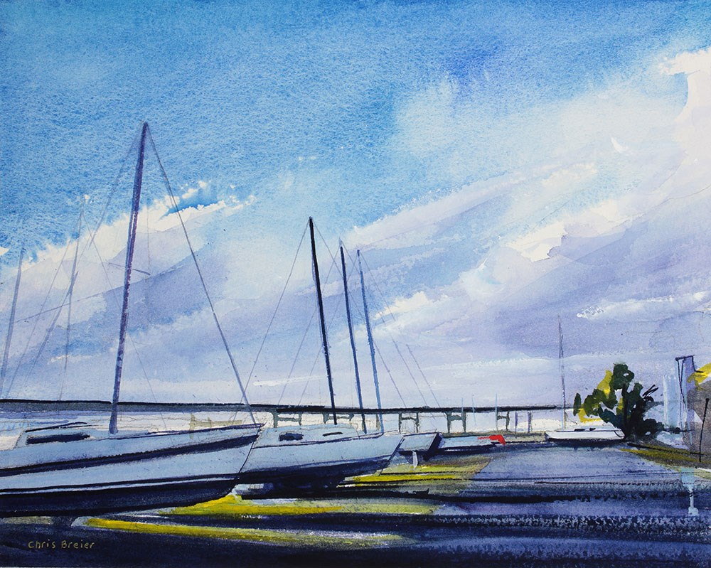 """Yachts"" original fine art by Chris Breier"