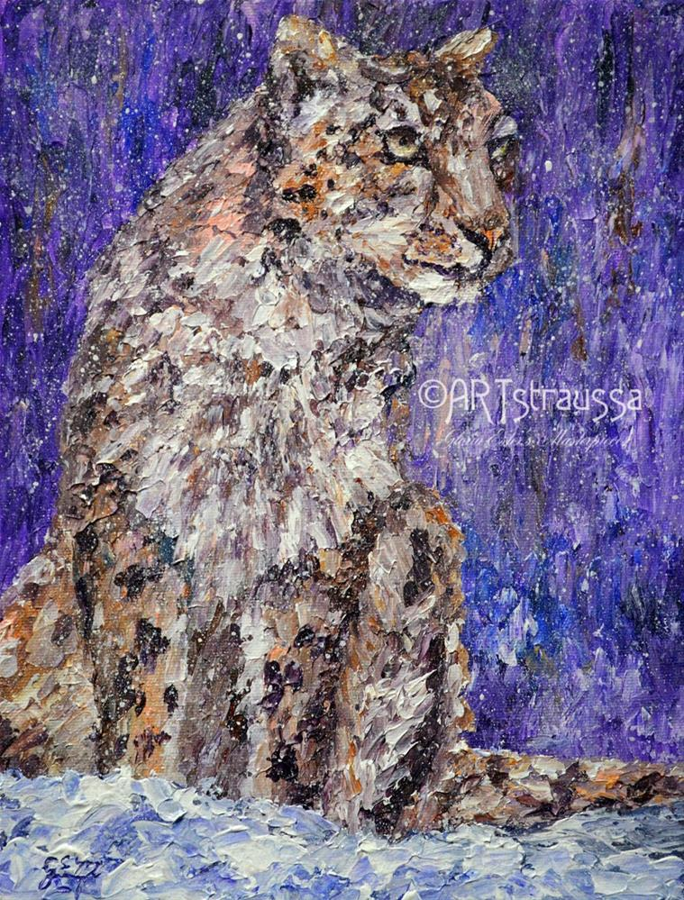 """SALE!!!Leopard Snowflakes"" original fine art by Gloria Ester"