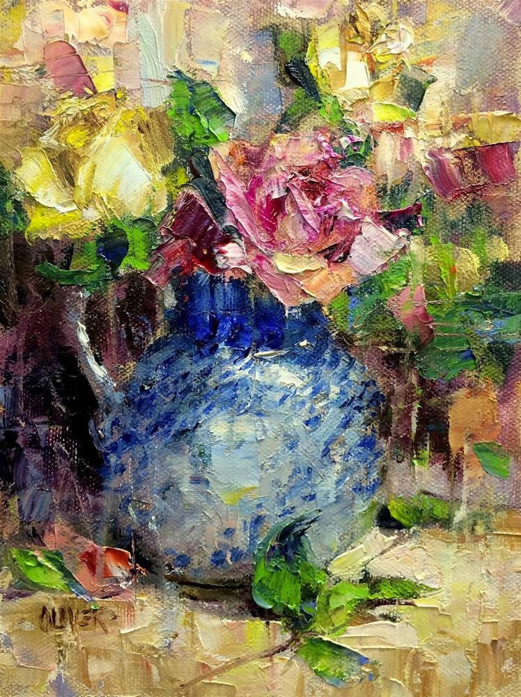 """""""Roses and Cezanne's Outlines."""" original fine art by Julie Ford Oliver"""