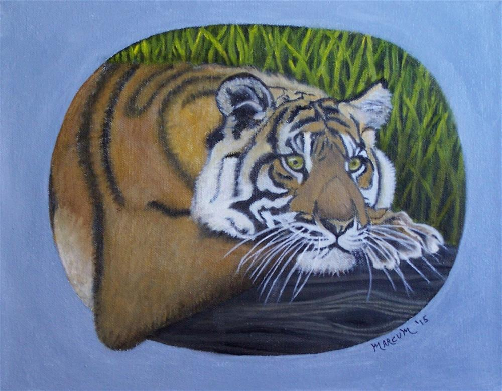 """""""Tiger cub on a log"""" original fine art by John Marcum"""