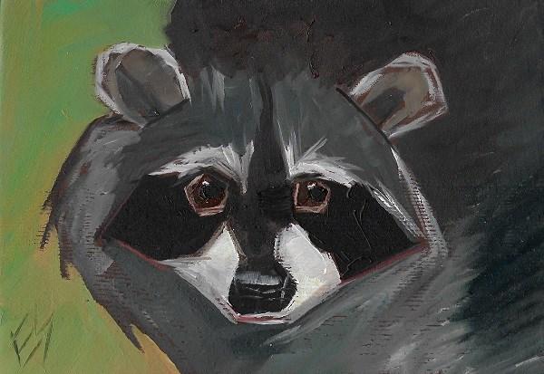 """""""Racoon Original Oil Painting"""" original fine art by Elizabeth See"""