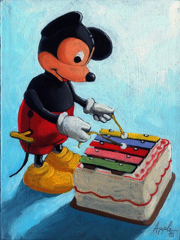 """""""Musical Mickey Mouse"""" original fine art by Linda Apple"""