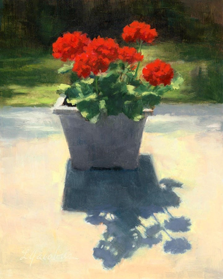 """Cluster of Geraniums"" original fine art by Linda Jacobus"