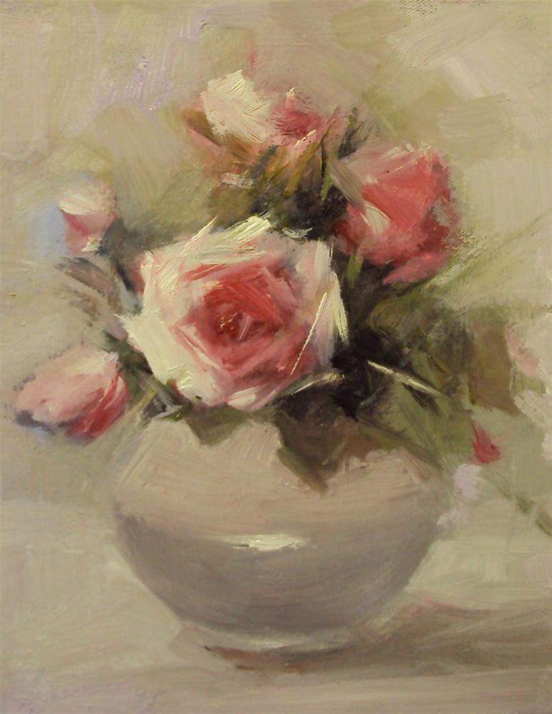 """Happy roses in a china vase"" original fine art by Parastoo Ganjei"