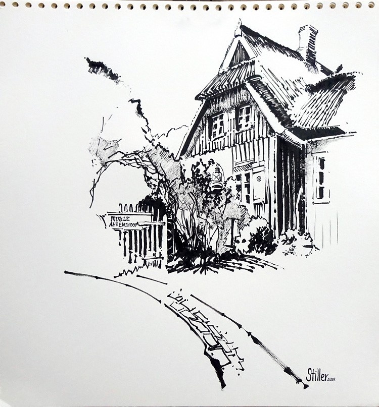 """""""3329 Mill Ahrenshoop"""" original fine art by Dietmar Stiller"""