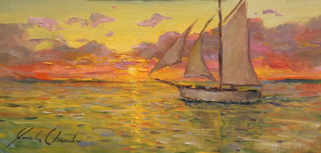 """""""Sunset on the water - Framed - free shipping"""" original fine art by Justin Clements"""