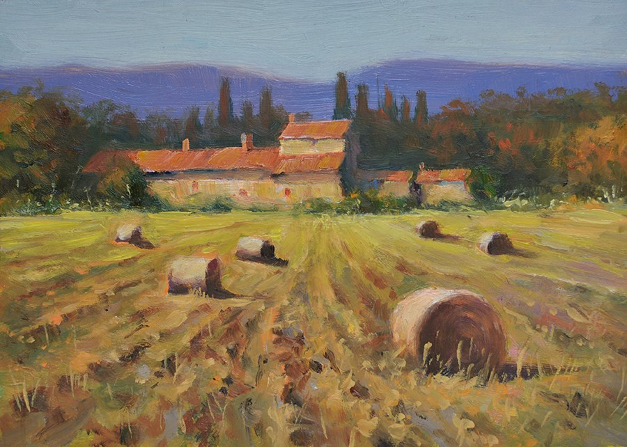 """Hay bales – Tuscan farm house. Tuscany landscape oil painting on Gesso board."" original fine art by Nick Sarazan"