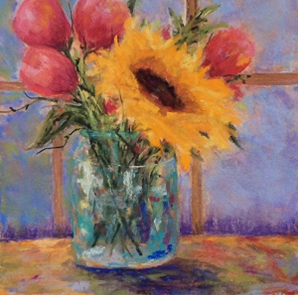 """""""Tulips and Sunflower"""" original fine art by Angeli Petrocco Coover"""