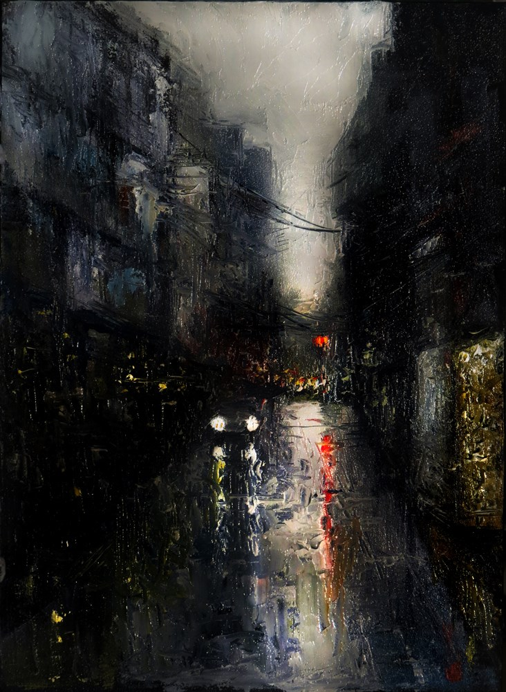 """""""A Wet City Street"""" original fine art by Bob Kimball"""