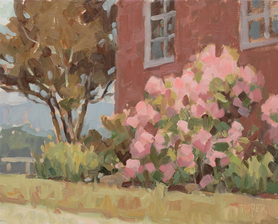 """""""DAY 9: Pink Rhododendrons"""" original fine art by Stuart Roper"""