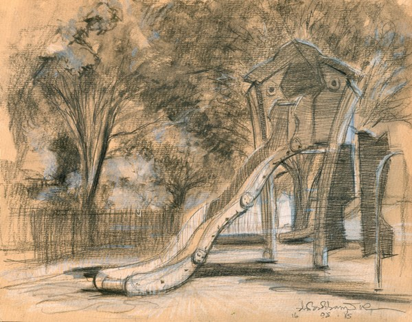 """The Playground Slide, Westfield Park (14) Chelsea Marathon"" original fine art by Adebanji Alade"