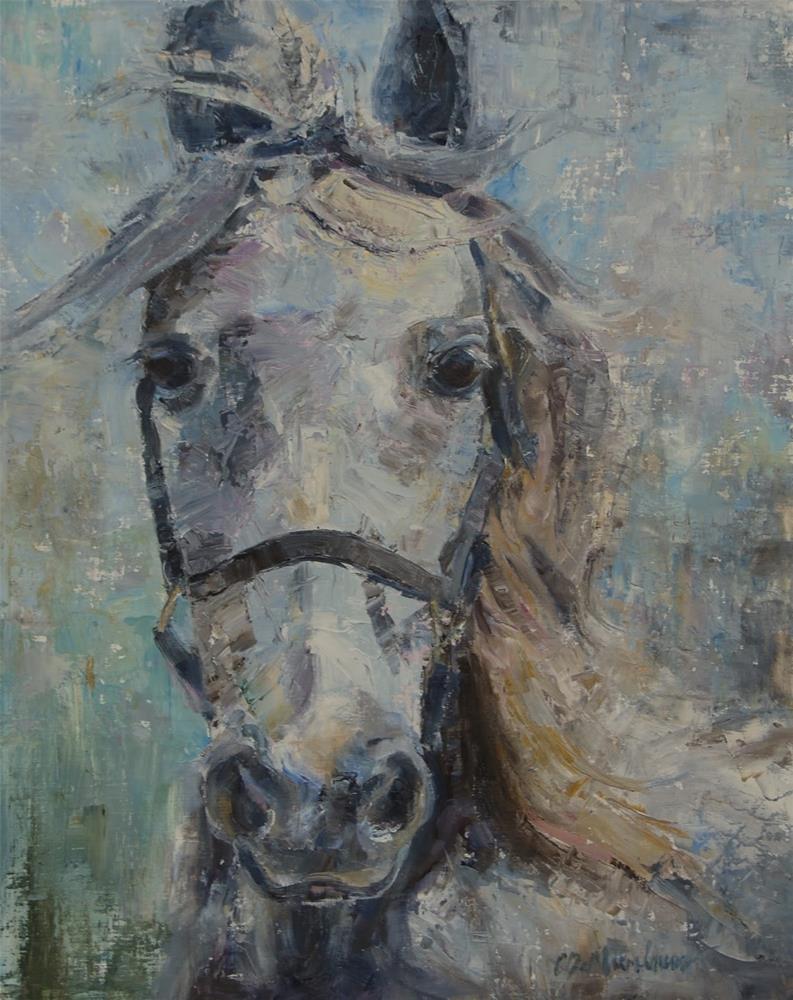 """White Horse, Tennessee Walking Horse, Palette Knife Painting"" original fine art by Carol DeMumbrum"