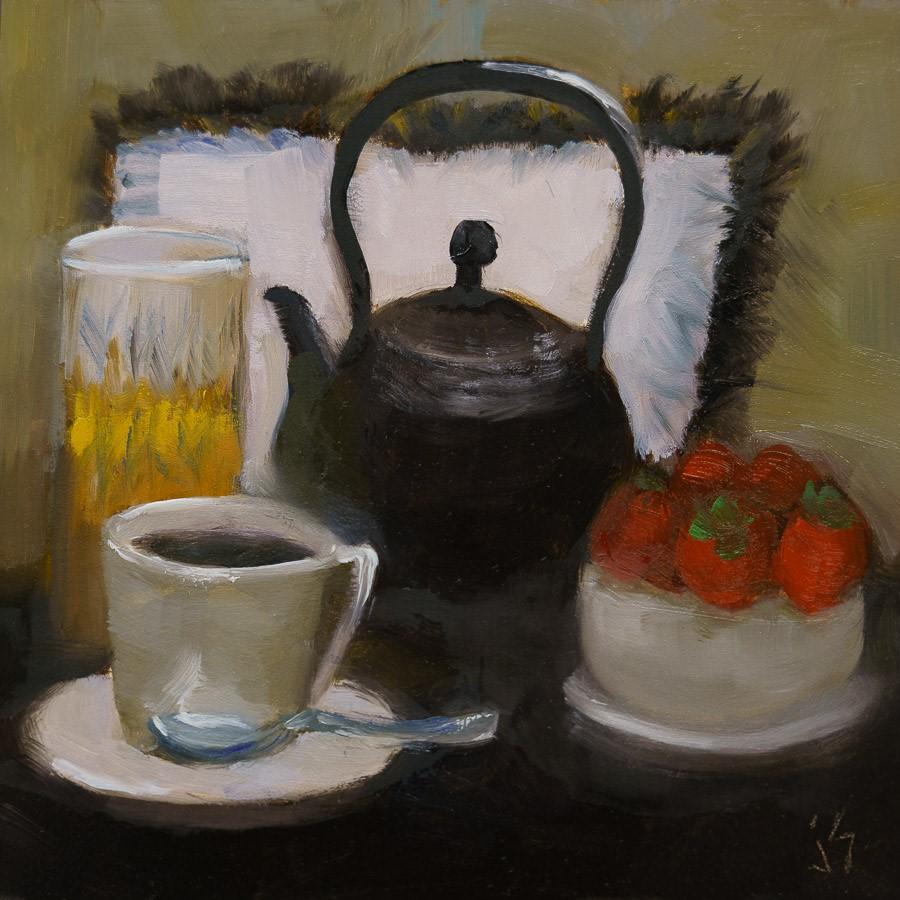 """En Terrasse with Tea"" original fine art by Johnna Schelling"