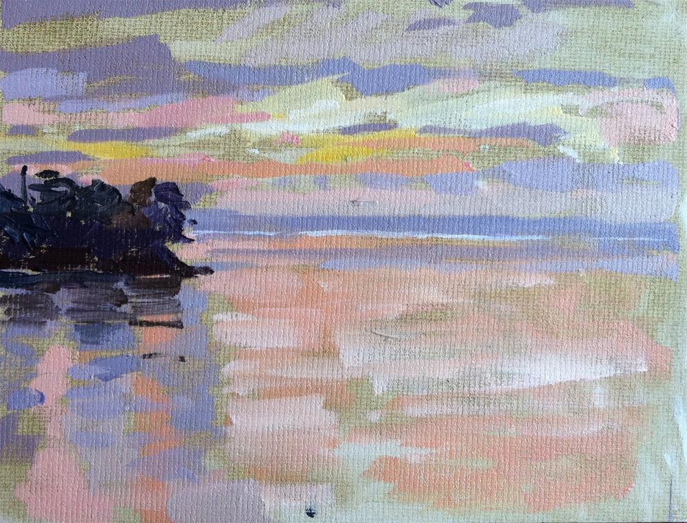 """Sunset in Douarnenez"" original fine art by Haidee-Jo Summers ROI"