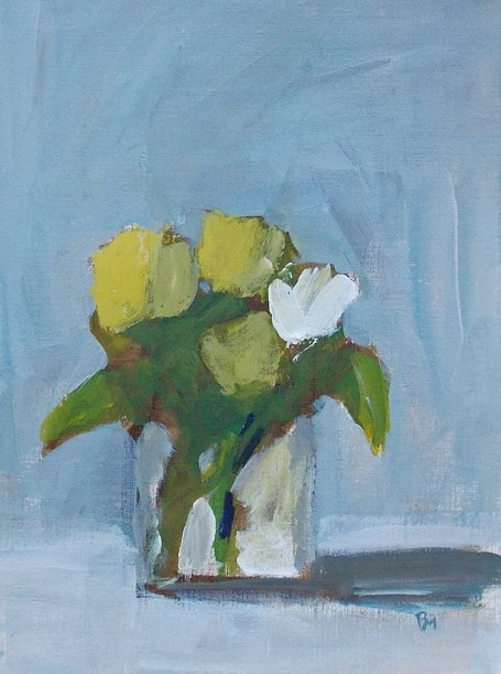 """""""One White with Yellow"""" original fine art by Pamela Munger"""