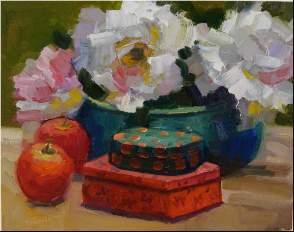 """Palm Sunday Peonies, 9x12, oil on linen-paintings of peonies, impressionist paintings, apples, Mar"" original fine art by Maryanne Jacobsen"