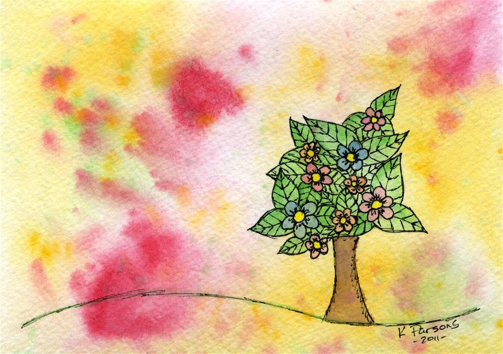 """Lone Tree Blooming"" original fine art by Kali Parsons"