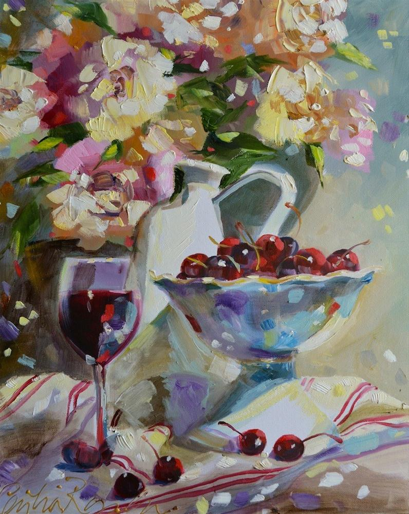 """""""French pitcher with cherries"""" original fine art by Cecilia Rosslee"""