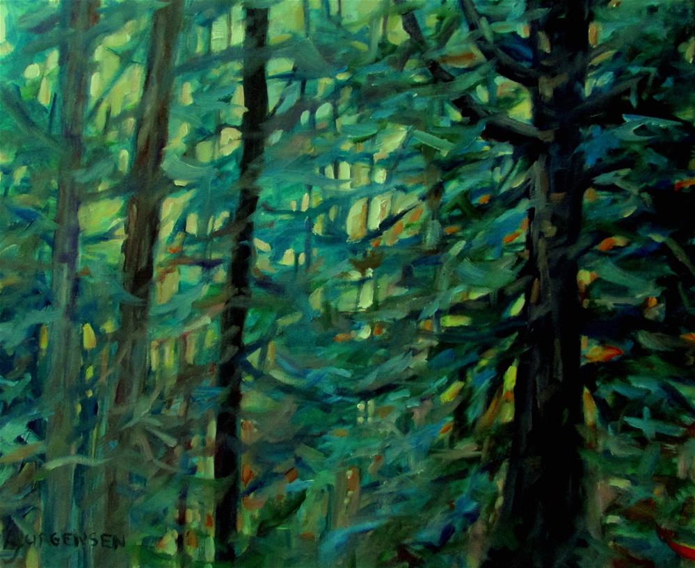 """20 x 24 inch oil Cedar Giant"" original fine art by Linda Yurgensen"