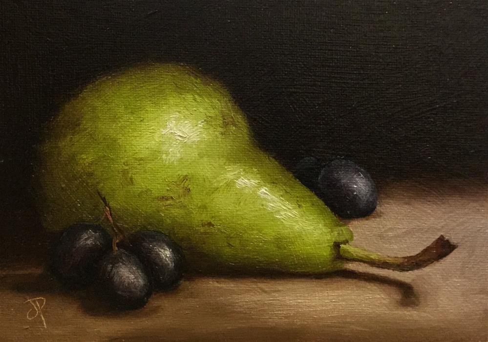 """""""Pear with Grapes"""" original fine art by Jane Palmer"""