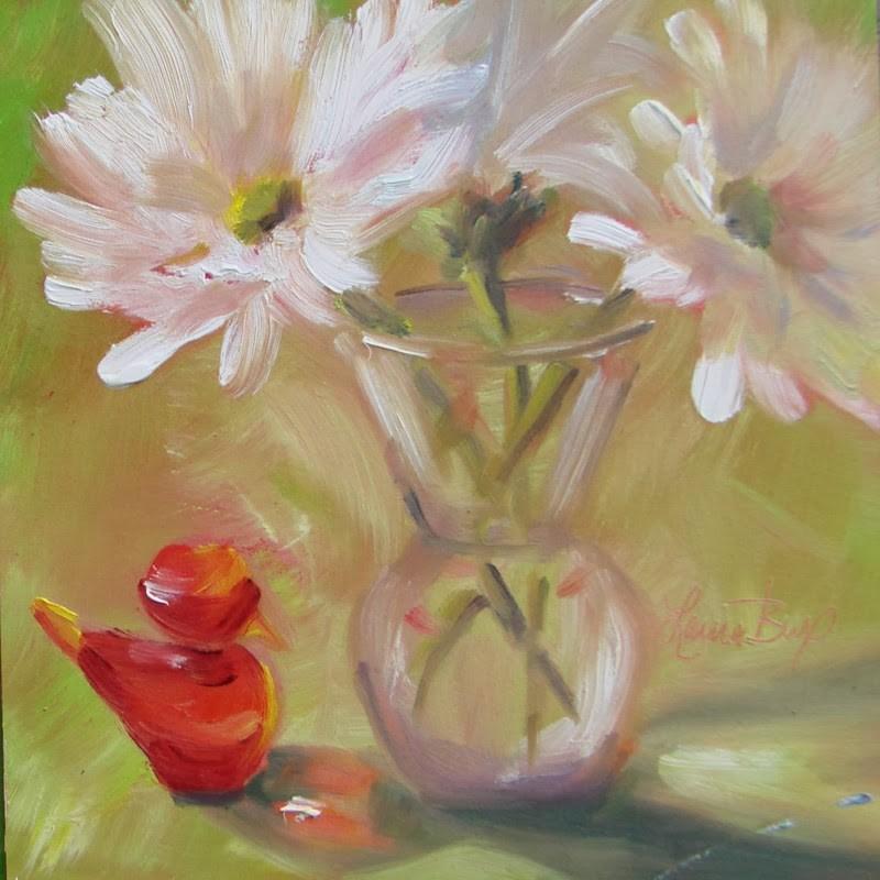 """Glass Bird with Daisies - 121"" original fine art by Laura  Buxo"