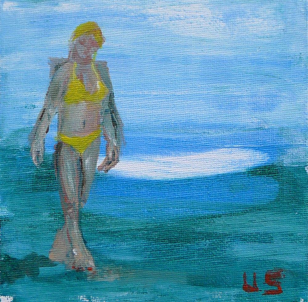 """Yellow bikini"" original fine art by Ulrike Schmidt"