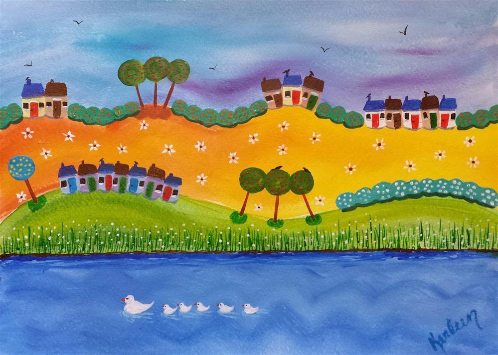 """Happy Houses"" original fine art by Karleen Kareem"